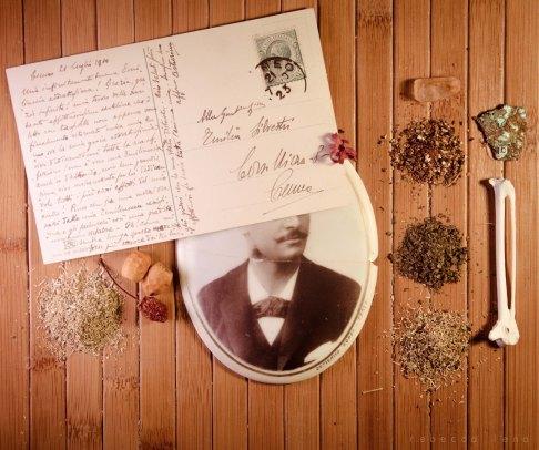 tè cartolina vecchia ossa foto cimitero